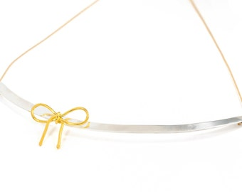 Sterling silver ribbon necklace, bow necklace, gold knot necklace, two-color pendant, collar necklace, minimalist pendant, bridesmaids gift