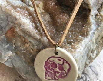 Stonewear Ceramic Skull Pendant Necklace
