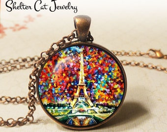 "Colorful Eiffel Tower Necklace - Paris France - 1-1/4"" Circle Pendant or Key Ring - Wearable Art Photo - Impressionist Artwork, Paris Gift"