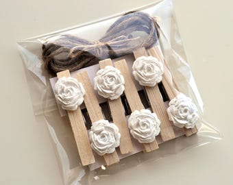 Rose clothespins, decorated clothespin, wooden clothespins, wedding clothespins, handmade roses, white roses, rustic rose pegs, clay roses