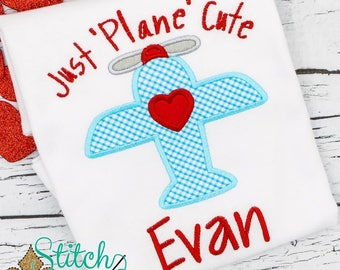 Valentine's Day Shirt, Valentine's Day Applique, Just Plane Cute Applique, Airplane Applique, Boys Valentine's Day tee