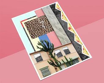 Lola Art Print, Abstract, Collage, Palm Springs, California, Cactus, Giclee, Pastel, Surreal