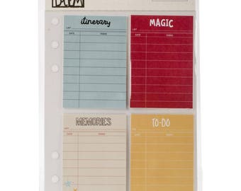 SAY CHEESE to-do & Checklist STICKY Notes, 2x3 inch, 4 designs x 10 sheets each on an A5 Punched Planner Storage Sheet (7927)