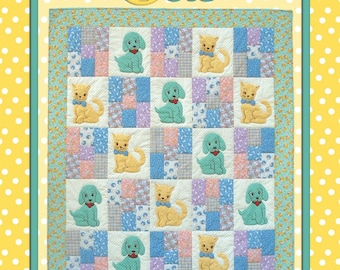 Polka Dot Pets, a baby quilt pattern by Darlene Zimmerman, 3 sizes, fusible applique, some embroidery