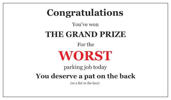 Business cards for people who suck at parking grand prize zoom colourmoves