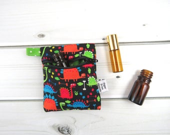 Mini Essential Oil Bag, Essential Oil Case - Tiny Dino - dinosaur roller bottle case essential oil storage IEM case earbud holder rollerball