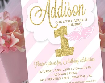 Angel Party Invitation | Little Angel Birthday Invitation | Christening Invitation | Baptism Invitation | 1st Birthday | Amanda's Parties
