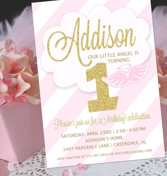 Angel party invitation little angel birthday invitation like this item stopboris Gallery