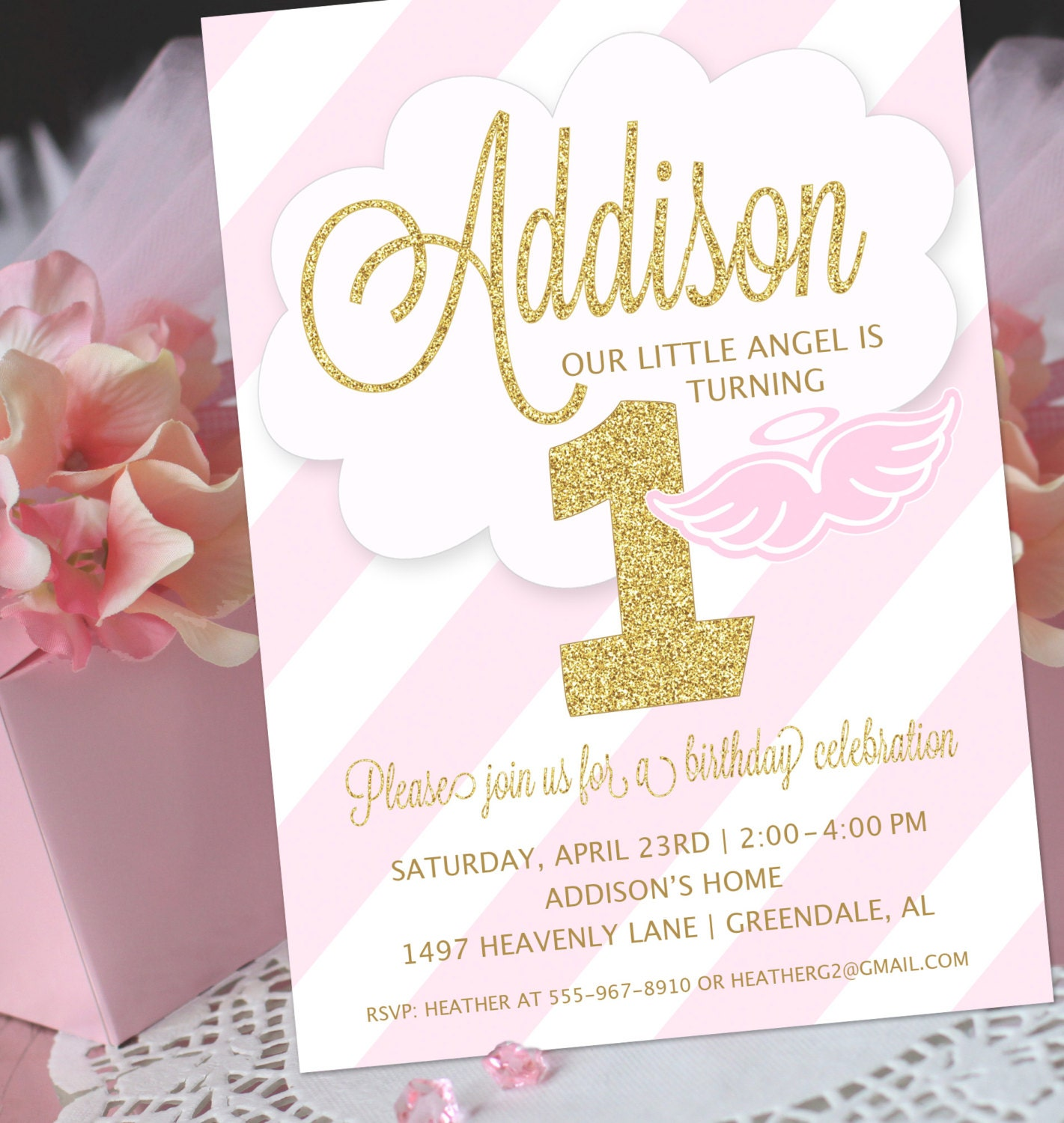 Angel party invitation little angel birthday invitation zoom stopboris Gallery