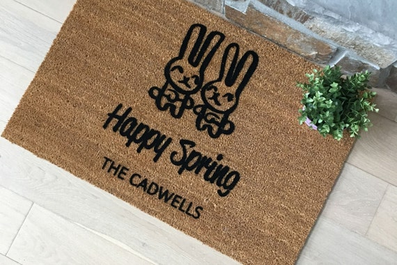 Door Mats / Personalized Doormat / Custom Doormat / Welcome Mat / Gifts for Her / Gifts for Mom / Unique Gifts / Gifts for Wife / Bunnies