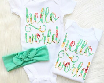 """floral chic """"hello world"""" onesie AND teal know headwrap set! coming home outfit or hospital outfit shower gift by sweet sprouts"""