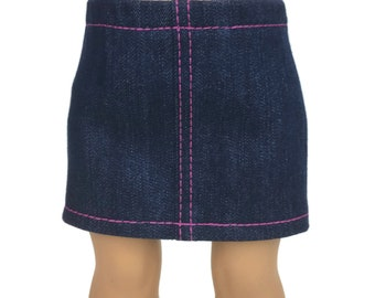 Blue Stretch Denim Mini Skirt with Hot Pink Topstitching - Doll Clothes made for 18 inch American Girl Dolls