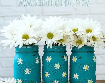 Daisy Mason Jar Set - Teal Mason Jars Painted and Distressed with Daisies