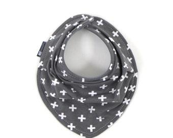 OEKO-tex certified drool bib - Grey with white plus - scarf bib - gender neutral - READY to SHIP