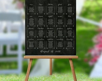 Wedding Table Assignments Board Chalkboard Background, Wedding Seating Chart Poster, Wedding Place Cards, Table Listings, Seating Chart
