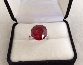 Lovely Bold Red Ruby Stone Statement Sterling Silver Ring