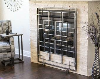Geometric Fireplace Art