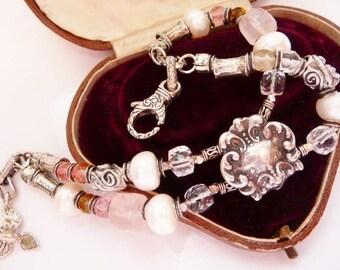 T Foree vintage slide charm bracelet | wedding bridal pearl artisan sterling bracelet | pink rose crystal | freshwater pearls | (L)