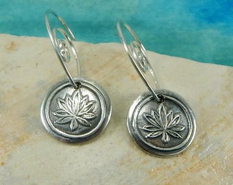 Tiny Lotus Earrings, Inspirational Jewelry, Spiritual Awakening Earrings, Yoga Inspired Jewelry, Tiny Fine Silver Earrings