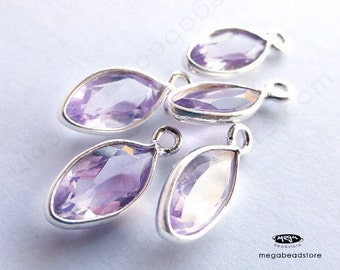 4 pcs 12mm Pink Amethyst (natural) Sterling Silver Bezel Marquise Drops Pendants F598S