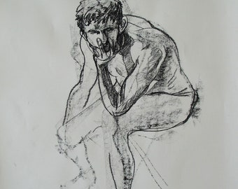Conté crayon life drawing of a man sitting holding his face