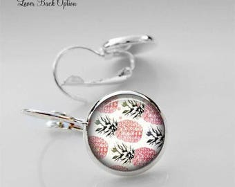 Pineapple Stud Earrings, Pineapple Posts, Cabochon Earrings, Christmas Gift, Glass Dome Earrings, Jewelry For Her, Fruit Earrings