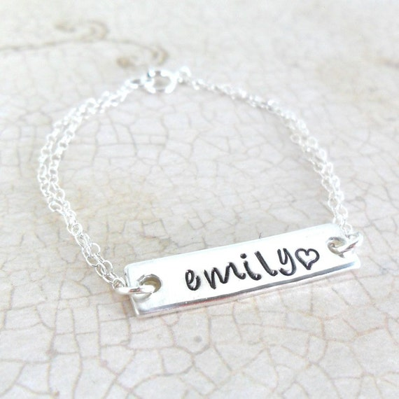 Baby Bracelet - Engraved - Hand Stamped - Sterling Silver - Handwriting Font - Script Font - Custom - Personalized