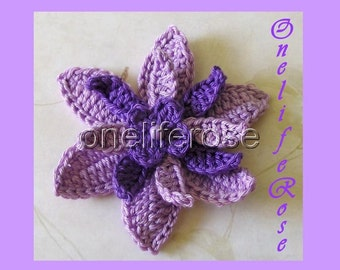 Once open a Time........3 D Crochet Flower Purple