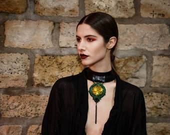 leather choker - khokhloma jewelry - black choker - extravagant jewelry  - gift for her - statement necklace - leather necklace