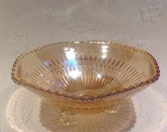 """Bowl footed Carnival Glass Jeannette """"Marigold"""" - iridescent glass"""