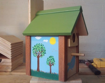 Birdhouse, handmade with hand painted scenery
