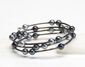 Gray Scale Crystal Pearl Memory Wire Bracelet  with Light Gray, Gray, Dark Gray and Black - Handmade Jewelry