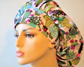 Bouffant Scrub Hats Southwestern Botonical Cactus Surgical Bouffant Scrub Hat Scrub Caps Made in USA