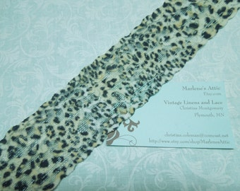 1 yard of 2 inch Jaguar Print Stretch elastic lace, animal print lace for headband, garter, lingerie by MarlenesAttic - Item T8