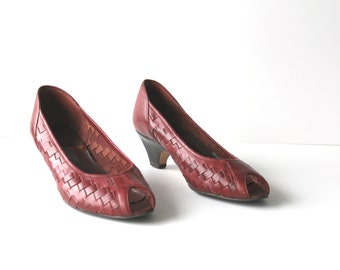 RIO RED - Vintage Red Brazilian Pumps | Ruby Red Heels | Peep Toe Heels | Vintage Heels | Red Heels | Size 7 | Vintage Pumps | Leather Heels