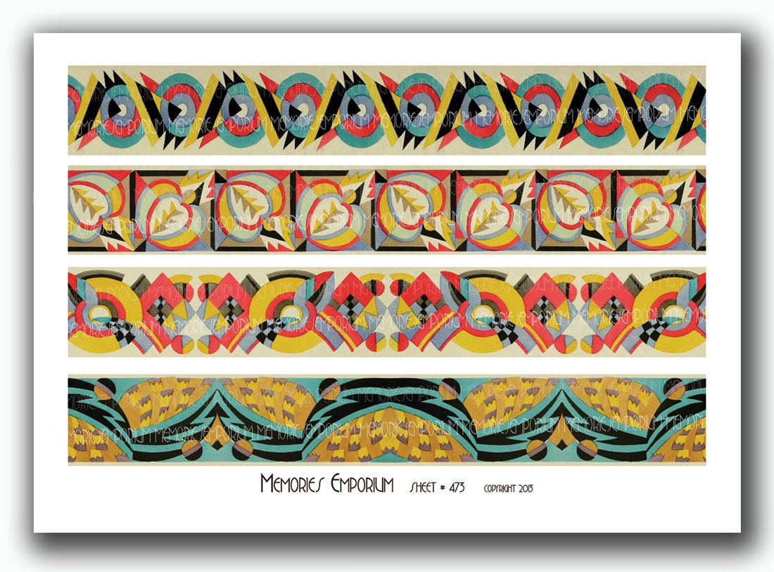 art deco bookmark border strip designs geometric patterns for. Black Bedroom Furniture Sets. Home Design Ideas