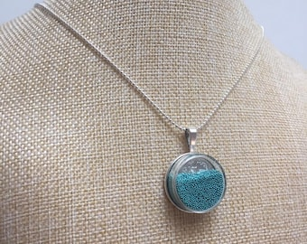 Glass beads blue Locket necklace jewelry