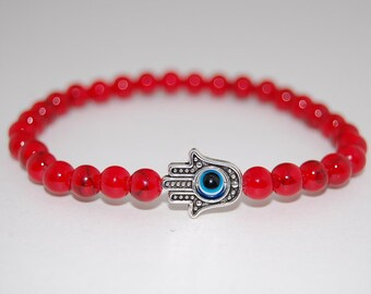 Kabbalah Hamsa Evil Eye Bracelet,Nazar Mystic Hand of Fatima,Red Coral Gemstone Bracelet,Man,Woman,Yoga,Pray,Protection,Evil Eye Bracelet