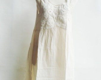 ON SALE 30% off, D19, Knitted Spring Off White Cotton Dress, cream sundress