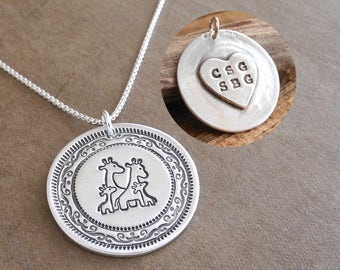 Personalized Giraffe Family Necklace, Mom Dad Two Baby, Two Children, Heart Oval Monogram, Fine Silver, Sterling Silver Chain, Made To Order