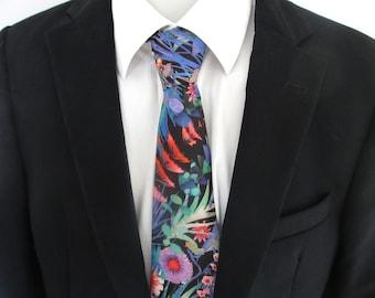 Men's Floral Necktie ~ aqua floral necktie ~ capel ~ men's tie ~ necktie ~ cravat zFTrFGUNjE