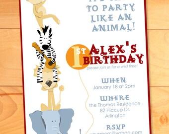 Animal Birthday Party Invitation, Kids Party Invitation, Custom Invite,Jungle Party, Zoo, Zebra, Lion, Elephant, Monkey, First Birthday