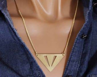 Necklace Golden triangular pendant