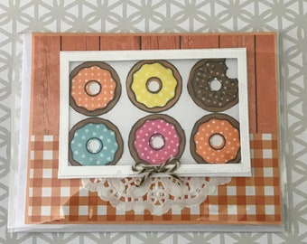 Handmade greeting card: Donuts, Baking, Bakery, Table, Box of Donuts, Table, Food, Snack