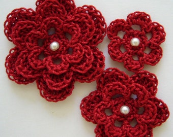 Red Crocheted Flowers - Cardinal Red With a Pearl - Cotton Flowers - Crocheted Flower Appliques - Crocheted Flower Embellishments