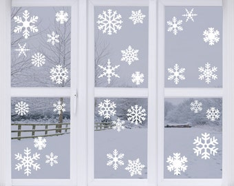 Snowflakes vinyl wall decals, set of 47 flakes, window decor, Christmas, winter, holiday decals