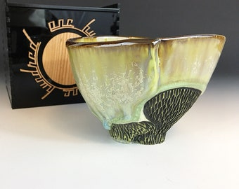 Tea Bowl 5 of 100 in Spring Green Crystalline Glaze in a Black Acrylic and Cherry Hardwood Box - One Hundred Series.  3 in tall, Food Safe.