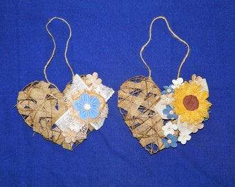 Choice of Sunflower Hanging Grapevine Heart or Blue Flower Grapevine Heart Decorated with Burlap, Linen and Burlap Flowers
