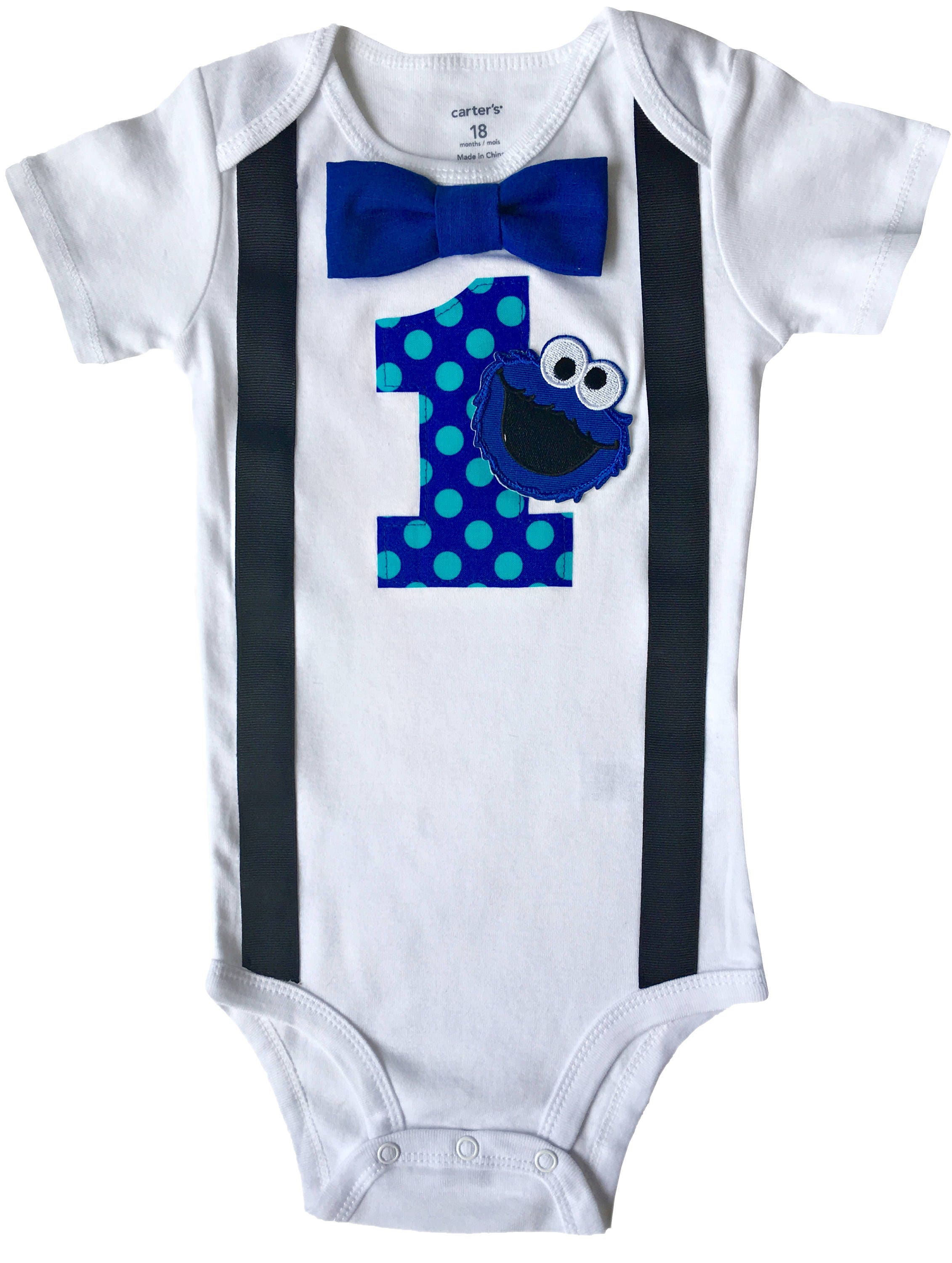 Baby Boys 1st Birthday Outfit Cookie Monster Bodysuit