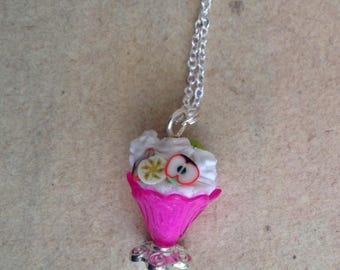Ice cream chain, necklace pendant pink